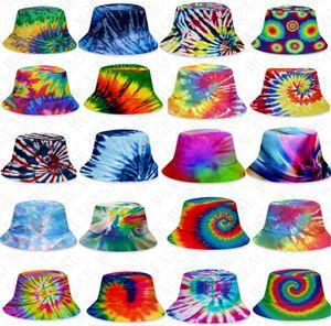 3D шапки цвета галстук-краситель ведро шляпа унисекс градиент плоской верхней Sunhat моды открытый хип-хоп кепки взрослых детей пляж солнце шлемы D71502