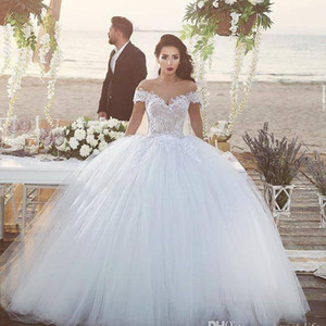 Gorgeous Lace Ball Gown Wedding Dresses Tiered Tulle Off Shoulder Applique Sweep Train Wedding Bridal Gowns robe de mariée