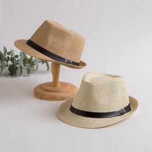202007-shi paper solid belt fedoras cap men women leisure panama jazz hat