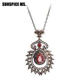 Bohemia Vintage Charm Pendant Necklace For Women Antique Gold Color Hollow Flower Water Drop Resin Jewelry Turkey Wedding Bijoux