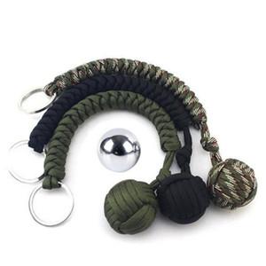 Rodada Keyring esfera de aço pingente Parachute Cord Keychain Chaveiro Sobrevivência Kits Outdoor Escalada Camping Umbrella corda