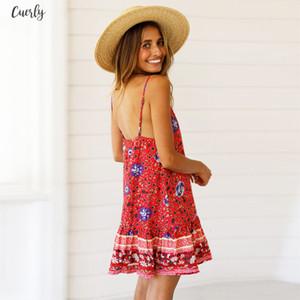 Summer Womens Boho Beach Dress Sleeveless Evening Casual Dresses Party Vacation Women V Neck Casual Loose Strappy Short Dress Vestidos