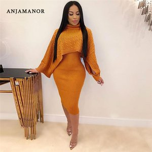 ANJAMANOR Sexy Sweater Dress 2 Piece Knit Set Women Fall Winter Outfits Leisure Suit Night Club Clothes Matching Sets D52-BC31 T200606