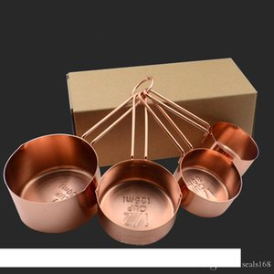 High Quality Copper Stainless Steel Measuring Cups 4 Pieces Set Kitchen Tools Making Cakes and Baking Gauges Measuring Tools HH7-177