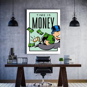 Wall Art Canvas Graffiti Home Decor Peinture Alec Monopoly HD Imprimer Modern Time Is Money Affiches modulaire Photos Salon