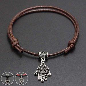 2020 New Hamsa Palm Pendant Red Thread String Bracelet Lucky Black Coffee Handmade Rope Bracelet for Women Men Jewelry
