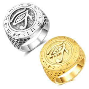 Biker Ring for men Gold silver color Egyptian Eye of Horus Talisman 316L Stainless Steel Finger ring Fashion Amulet Jewelry Gift