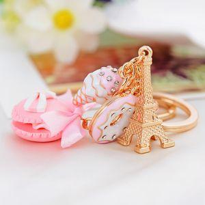 الإبداعية مجوهرات سحر معكرون كعكة برج ايفل العنصر قلادة الحلي كريستال أقراط هدية للنساء