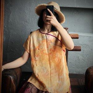 QPFJQD 2020 stampa Estate Giallo stile cinese Tops O-Collo Retro manica corta in lino casuale delle donne allentato maglietta