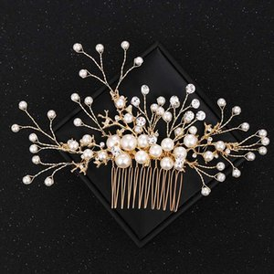 Vintage Gold Rhinestone Pearl Wedding Hair Combs Hair Accessories for Bridal Jewelry Headpiece Women Head Jewelry Comb