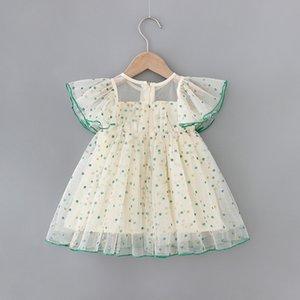 2020 Children Sweet Hipster Dot Mesh Dress Summer Flying sleeve A- line DressNew Baby Girls Cute Princess Dress kids baby girl cloths