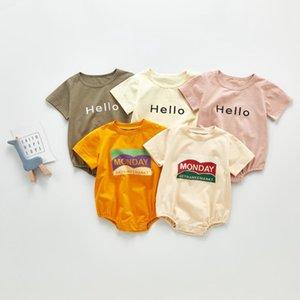 Summer Baby Clothes Letter Infant Boy T Shirt Cotton Newborn Girl Romper Short Sleeve Children Jumpsuit Boutique Baby Clothing DW5572