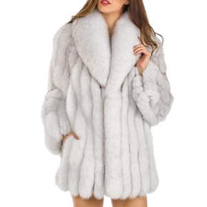S-4XL Mink Coats Women 2018 Winter New Fashion Pink FAUX Fur Coat Elegant Thick Warm Outerwear Fake Fur Jacket Chaquetas Mujer