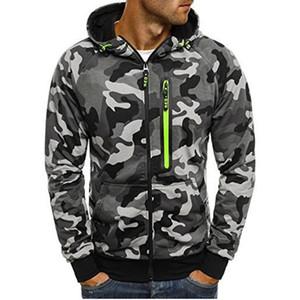 캐주얼 남성 셔츠 위장 지퍼 풀오버 긴 소매 후드 운동복 스트리트 남성 의류 패션 M-5XL 탑