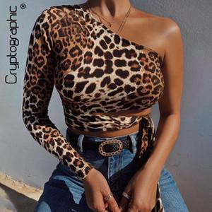 Seksi Bir Omuz Kırpılmış Kadınlar İnce Moda Sonbahar Kış Tees S-L T-shirt yukarı Hollow dışarı Leopard Baskı Lace Tops