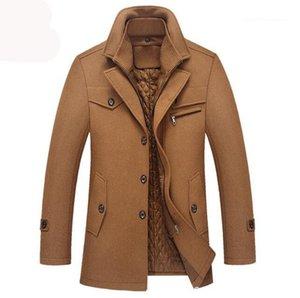 Мода Solid Color отворотом шеи тинейджеров зимние пальто мужские DesignerJackets Casual Fleece Толстые куртки Верхняя одежда New