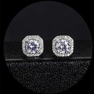 وصول جديدة مذهلة مجوهرات فاخرة 925 فضة جولة قص ساحة الأبيض توباز CZ الماس الشعبية ستار النساء مربط القرط هدية