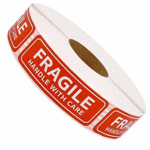 500pcs / рулон Fragile Предупреждение Наклейка Спасибо Стиль Самоклеющейся Seal Этикетка наклейка Do Не Группа Предупреждения Наклейки 0260PACK