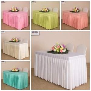 20 Colours with swag ruffle style cloth linen box cover wedding party decoration Table skirt T200707