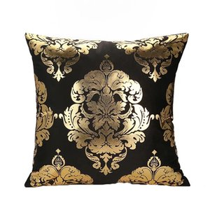 Pillowcase leaf fireworks bronzing sofa pillowcase fashion black super soft cushion cover new style factory direct sales
