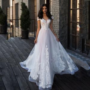 Nueva DesignL apliques de encaje con cuello en V manga del casquillo de tul perlas Una línea vestidos de boda 2020 vestido de novia vestido de Boho de Noiva