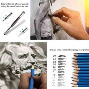 51pcs / set Professional Desenho do artista Kit Set Desenho de lápis arte da pintura Supplies Box Kit Stationery Com Madeira Esboço Supp G3J9