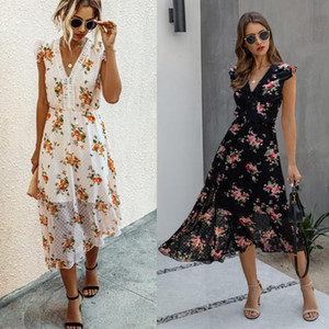 Vintage Floral Maxi Dresses Elegant Beach Sash Sexy V Neck Split Print Tunic Long Summer Boho Dress Women Vestidos