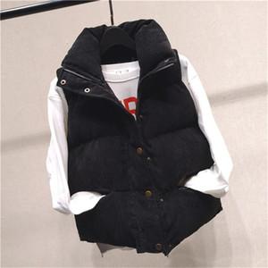 Collare del basamento senza maniche Womens Outerwear donna cappotti Button con Womens cerniera e tasche 20fw Cotton Vest