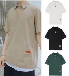 Men's Polo Shirt 2020 Summer New Lapel Loose Pure-color Port Wind Short-sleeved T-shirt Bottom Shirt Top