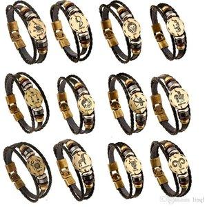 12 Constellations Bracelet 2017 New Fashion Jewelry Leather Bracelet Men Casual Personality Zodiac Signs Punk Bracelet KKA1913