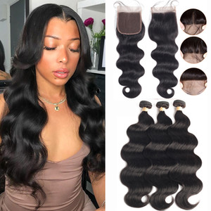 2020 Popular Style Hair Bundles with Closure 4*4inch Brazilian Body Wave Human Hair Bundles with Closure
