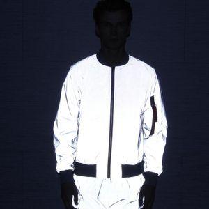 Drop shipping flight jacket men Spring autumn windbreaker reflective jacket casual hip hop jackets and coats jaqueta masculina