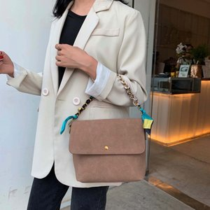 Solid Color Scrub Leather Crossbody Bags For Women 2020 Chain Scarf Shoulder Messenger Bag Lady Winter Handbags and Purses