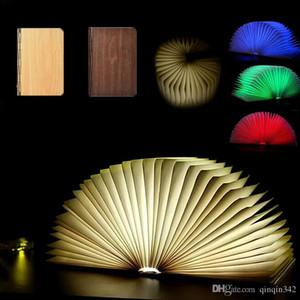 مكتب DHL RGB LED ليلة 3D ضوء طي الكتاب الضوء مكتب مصباح USB ميناء قابلة للشحن خشبي مغناطيس الغلاف المنزل الجدول السقف ديكور مصباح