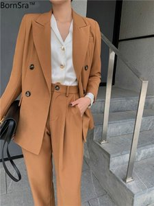 BornSra Spring Office Two-piece Blazer Pant Suit Fashion Solid Women Blazer Suits Long Sleeve Double Breasted Pants Set