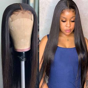 HD Peruvian Straight Lace Front Human Hair Wigs Deep Part 4X4 Lace Closure Wig 150 Density