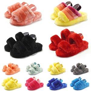 Ugg boots New arrivel Austrália mulheres homens fluff oh sim lâminas mulheres chinelos peludos sandália difusa senhoras quentes moda inverno slipper