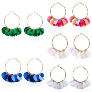 5 Colors Fashion Women Big Hoop Earrings Sequin Round Alloy Circle Drop Earring Flowers Earrings Party Jewelry Gifts