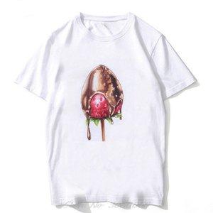 Chocolate Strawberry Cake Vogue Illustrations Short Sleeve T-shirt 90s Aesthetic Tshirt Women Comfortable Tee Shirt Men Harajuku