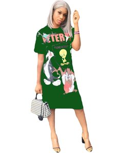 Manica corta Womens Dress Fashion-3D stampato Estate signore casuali Designer girocollo Abiti allentati sexy vestiti delle donne