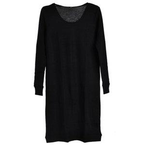 Женщина Черный 100% мериносовой шерсти свитер платье женщин Маленький черный Crew Neck Midi Pure Merino Wool платье с длинным рукавом Вязать стрейч