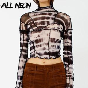 ALLNeon Kadınlar Batik Mesh tişörtler O-boyun Patchwork Backless Mahsul Vintage Seksi Yaz Tees Y2K Styler Punk Top Streetwear Tops