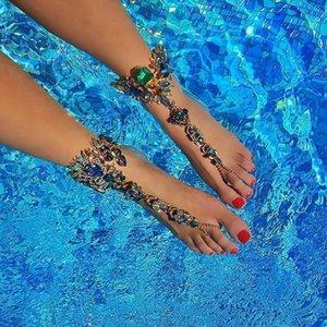 Mejor Señora pulsera de tobillo de la playa para las vacaciones sandalias de cadena atractivo para el tobillo del pie femenino joyería Pie Pierna Crystal Anklet3194 C19041101