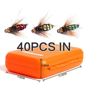 40pcs / caja de pesca con mosca Gancho de Moscas señuelo de Kit Dry Flies Ganchos ala de la pluma cebo artificial señuelos Conjunto
