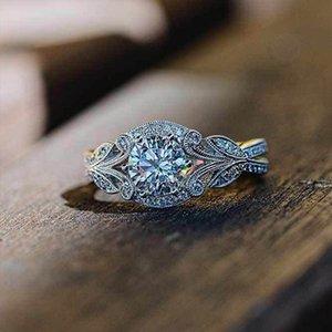 سحر حلقة AprilGrass العلامة التجارية زركون زفاف لعروس كلاسيكي سوليتير بالفضة ورقة فرقة نسائية اكسسوارات والمجوهرات الدائري