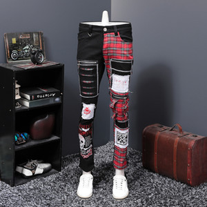 Stazione Europa Autunno Inverno nuovo schema buchi neri Split Joint Patch Jeans Maschio Beggar personalità pantaloni lunghi PUNK Trend