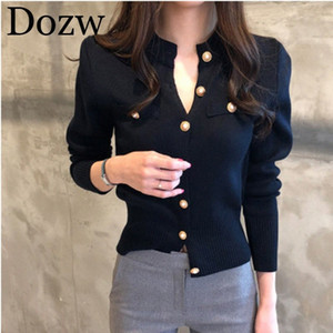 Sweater Cardigan Women 2019 Autumn Winter Elegant Long Sleeve Knitted Cardigan Solid Casual Button Jumper Female Sweater 1tyf#
