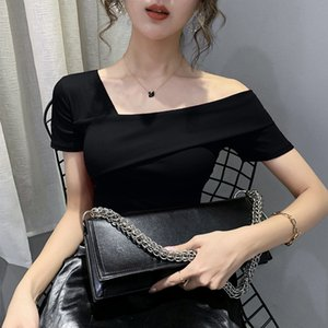 Clothes Fashion Asymmetrical Hollow Out T-shirt Women 2020 New Summer Back Tops Ropa Mujer Bottoming Shirt Tees T02210