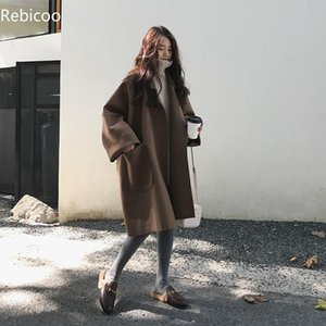 NEW Women Spring autumn coat Long Solid color coat Big size Female trench Woolen classic style Loose