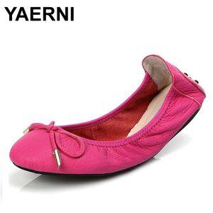 YAERNI Marken-Frauen-Schuhe plus Größe 30-43 echter Leder-Schuhe Heißer Verkauf Ballerinas faltbarer Spielraum Schwangere